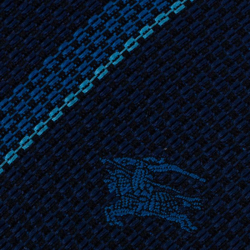Burberry Two Tone Blue Striped Silk Tie