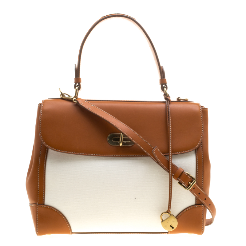 807b1bc661 ... france ralph lauren brown white leather and canvas tiffin 33 bag.  nextprev. prevnext 6e37e ...