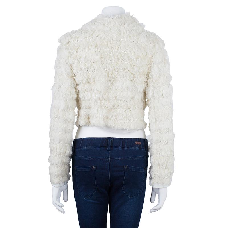 Dolce and Gabbana Off-white Agnello Kalga Lamb Fur Jacket S