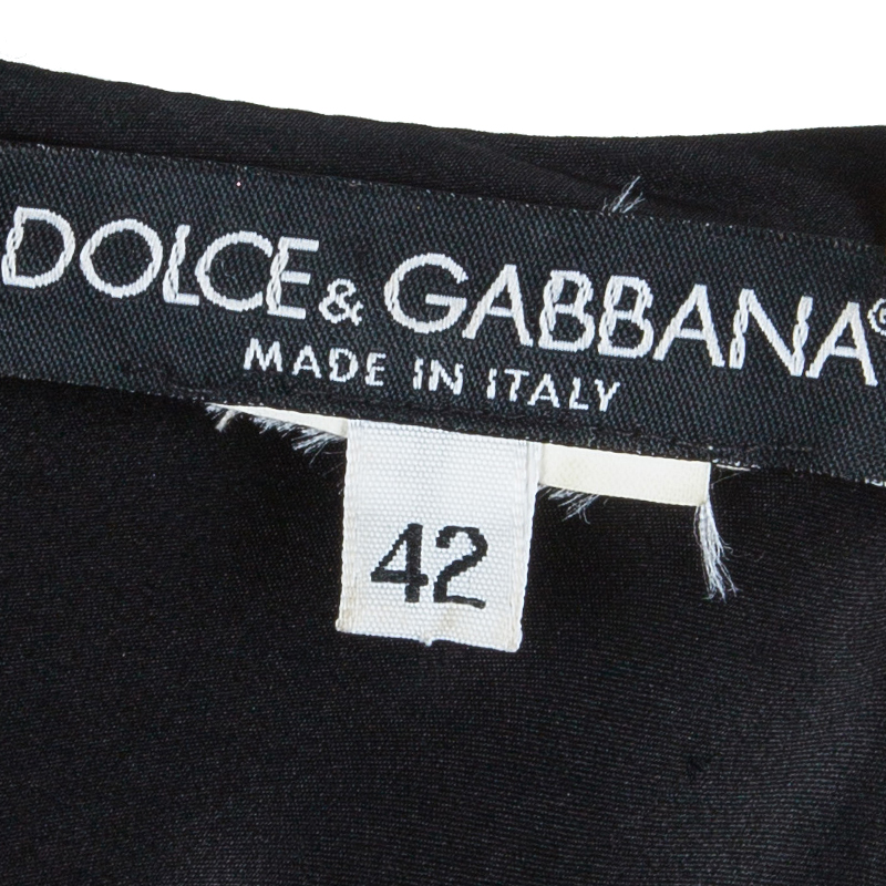 Dolce and Gabbana Black Leather Trim Lace-up Dress S