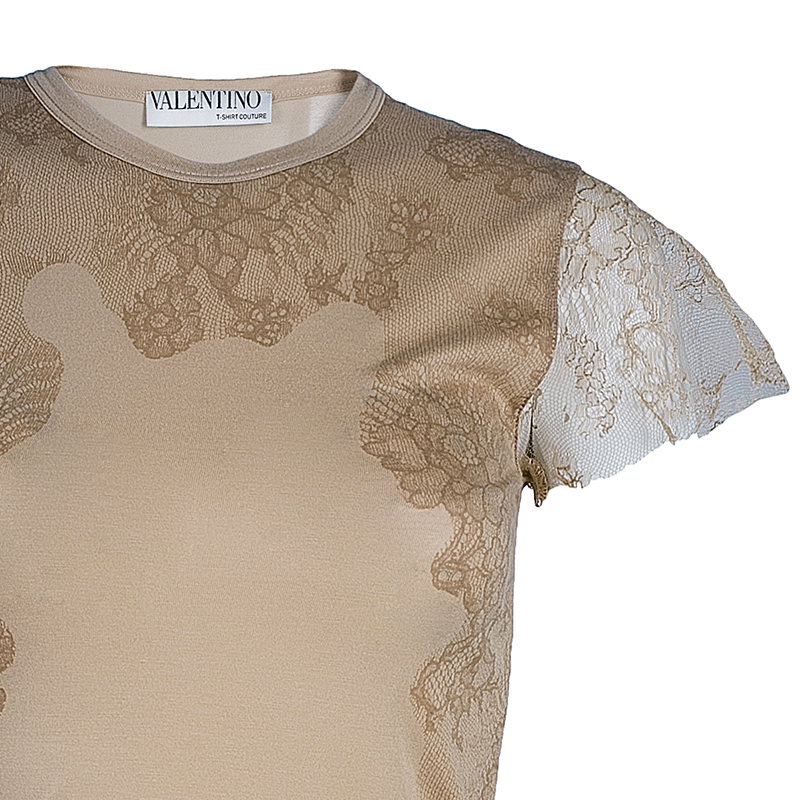 Valentino Beige Lace Print Cotton Top XS