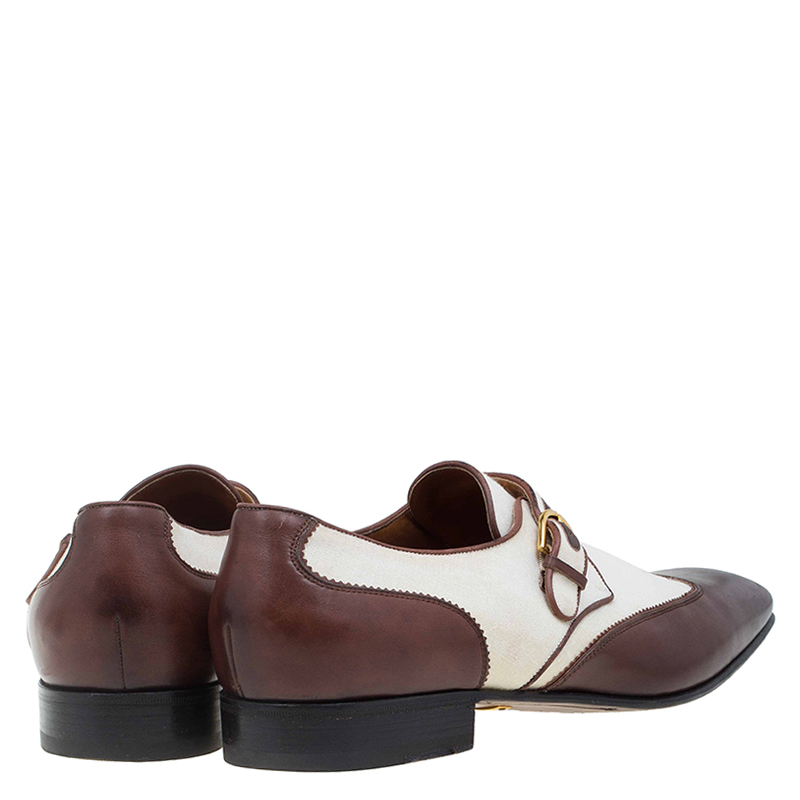 Gucci Brown Leather and Cream Canvas Monk Strap Shoes Size 45 ...