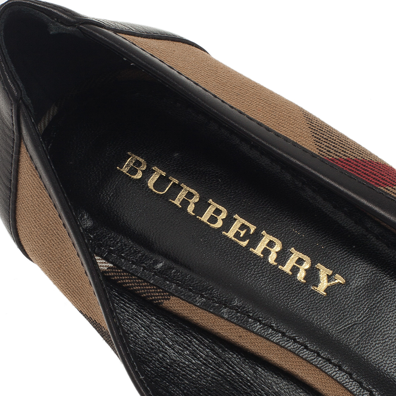 Burberry Novacheck Canvas and Leather Buckle Detail Ballet Flats Size 39