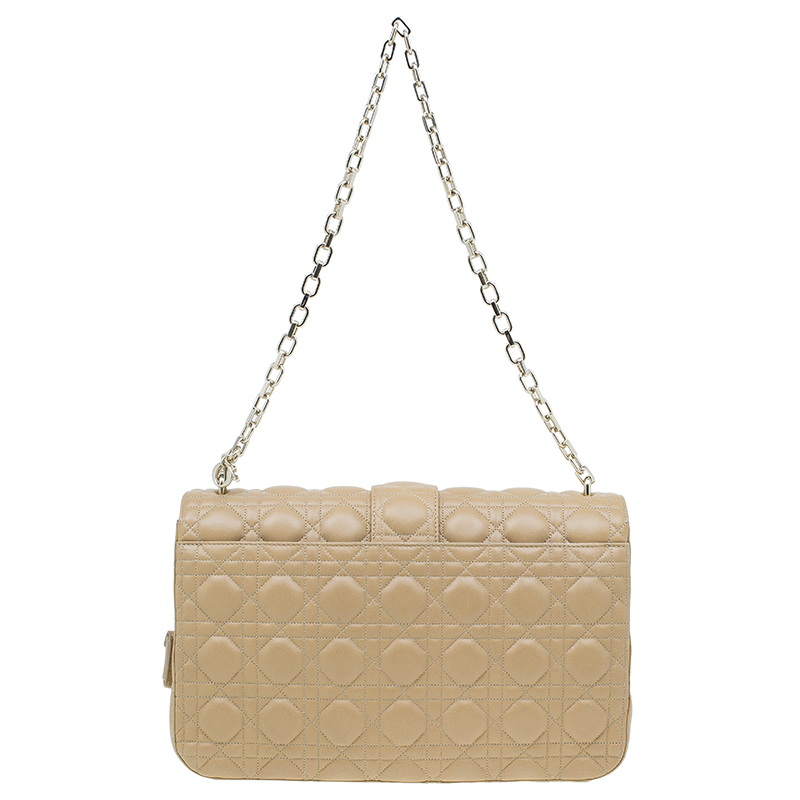 Dior Beige Quilted Leather Large Miss Dior Flap Bag