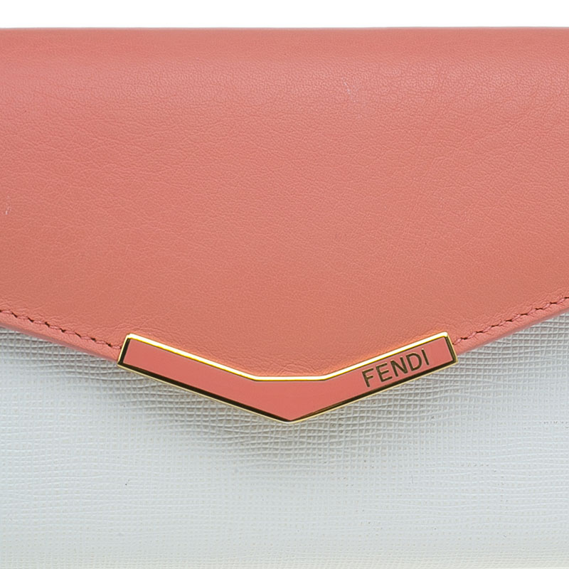 Fendi Peach and White Leather '2Jours' Small Envelope Wallet