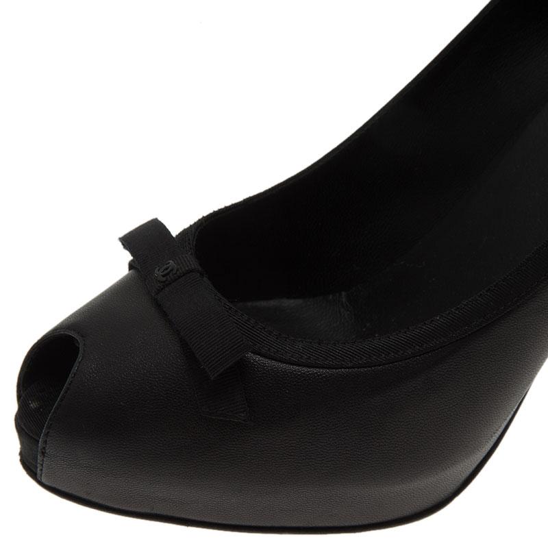 Chanel Black Lambskin Ribbon Trim Peep Toe Pumps Size 39.5