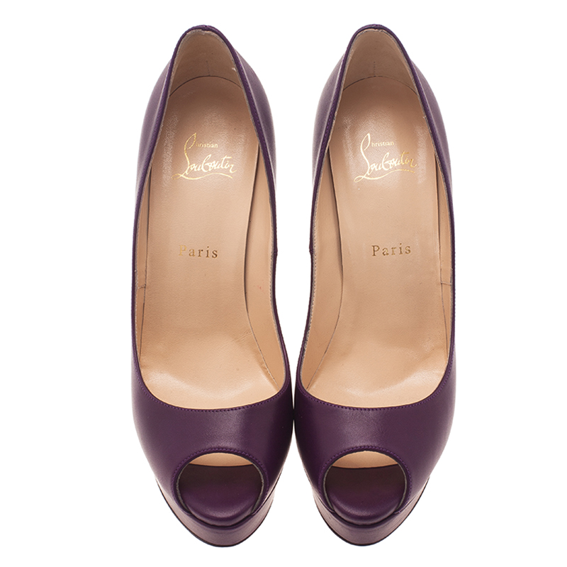 Christian Louboutin Purple Leather Lady Peep Platform Pumps Size 40