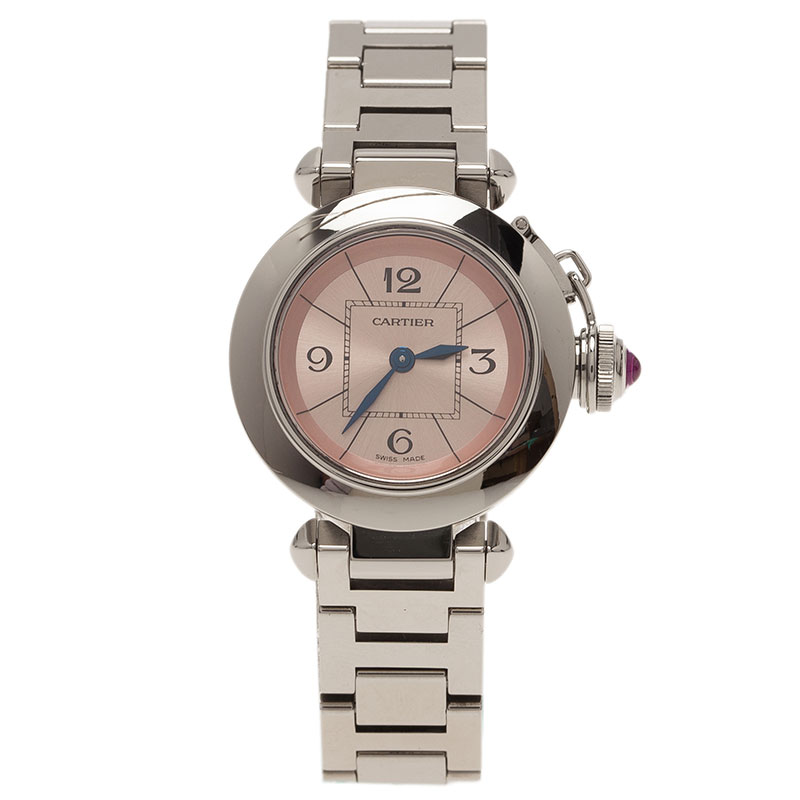 Cartier Pink Stainless Steel Miss Pasha Women's Wristwatch 27MM