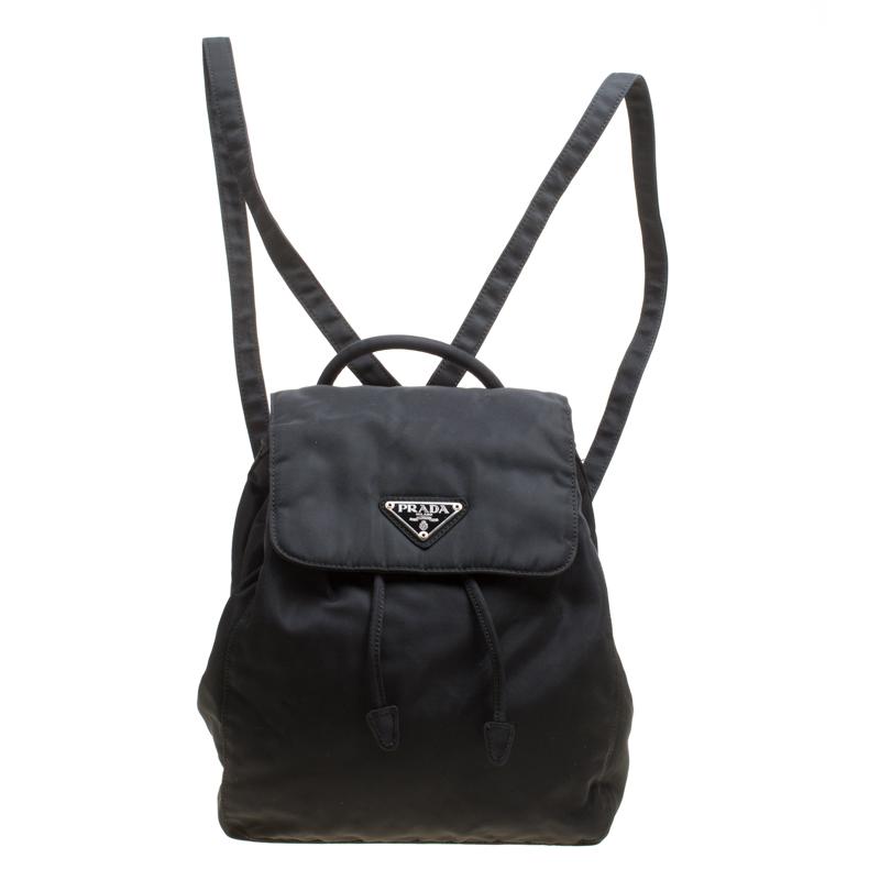 Купить со скидкой Prada Black Nylon Drawstring Backpack