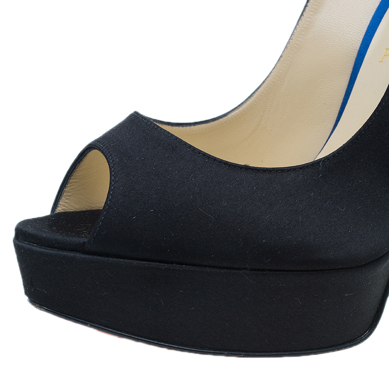 Christian Louboutin Two Tone Satin Plisseta Slingback Sandals Size 40.5