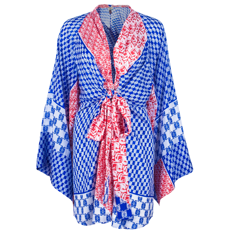 Issa London Printed Silk Kimono Mini Dress L
