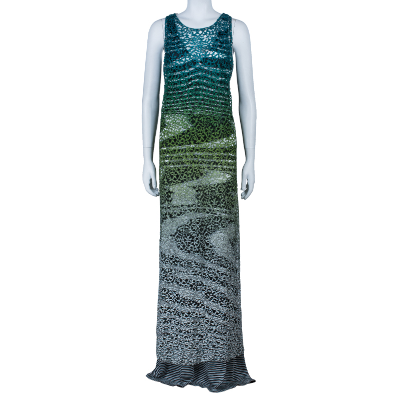 Missoni Gradient Laser Cut Lace Gown L