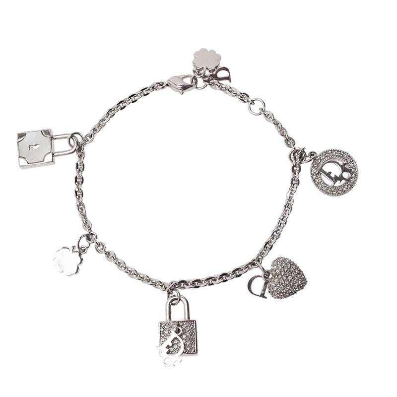 Dior Crystal Charm Silver Tone Bracelet
