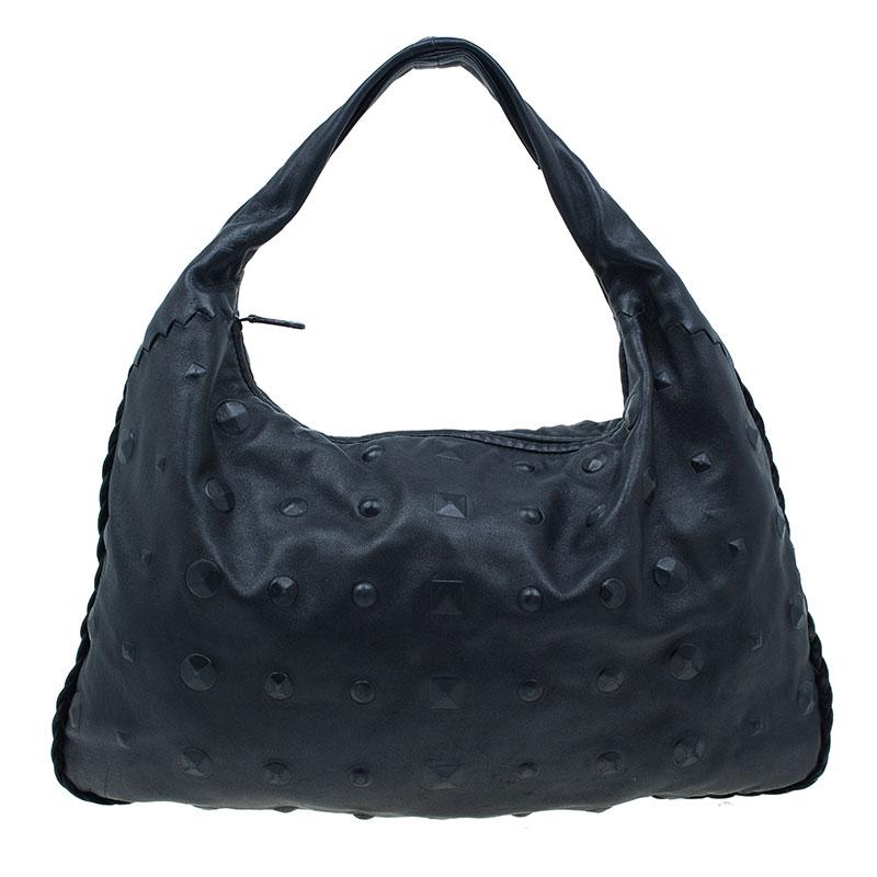 Bottega Veneta Black Leather Stud Stamped Hobo Bag
