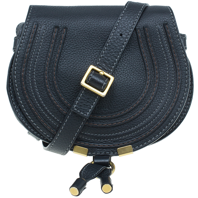 Chloe Black Leather Mini Marcie Crossbody Bag
