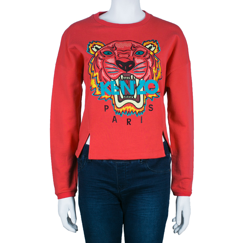Kenzo Pink Tiger Embroidered Sweater L