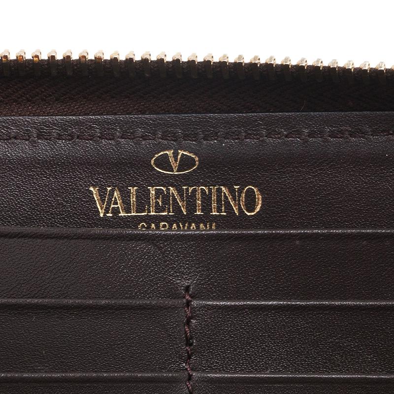 Valentino Pony Hair Zip Around Rockstud Wallet