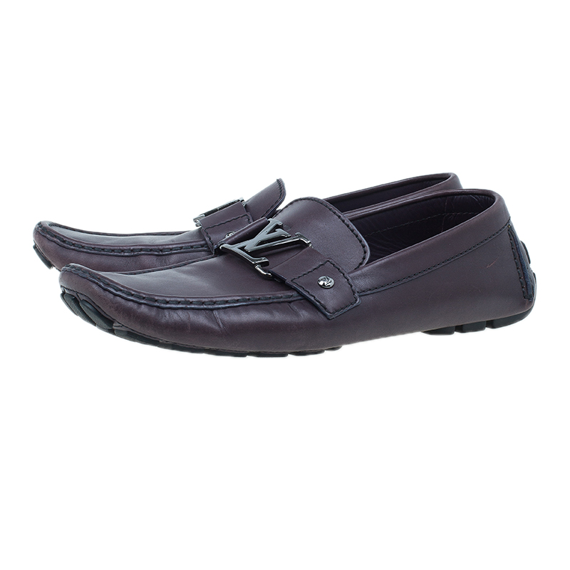 Louis Vuitton Purple Leather Monte Carlo Loafers Size 42.5