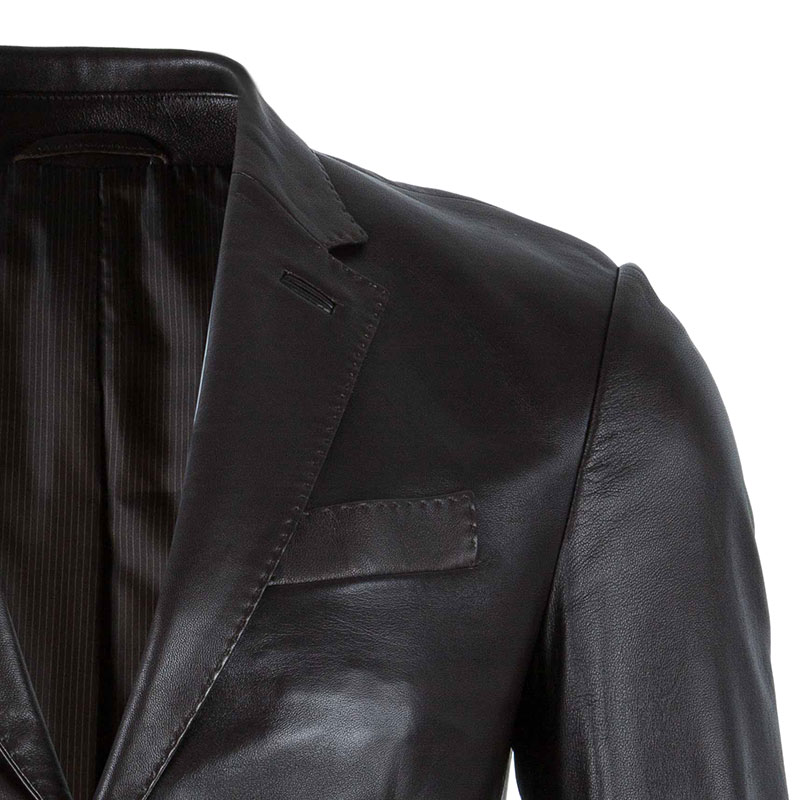 Z Zegna Mens' Black Leather Jacket M