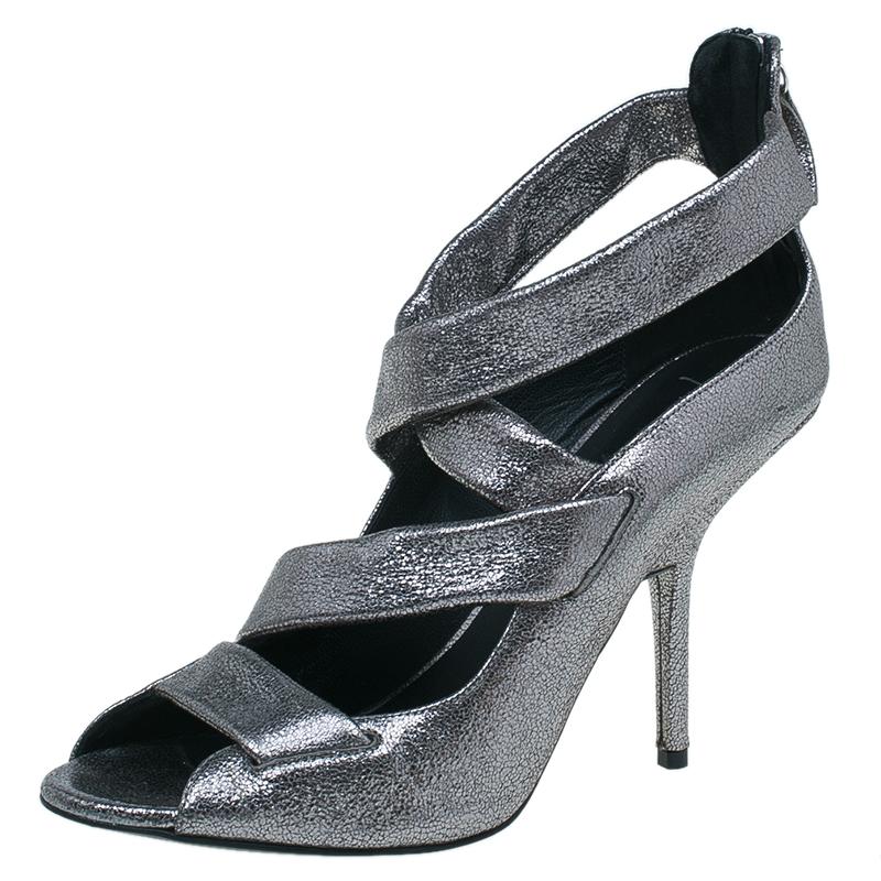 Giuseppe Zanotti Silver Metallic Leather Strappy Sandals Size 41