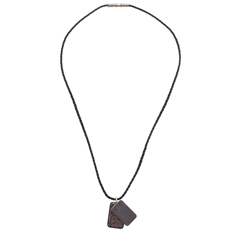 Bottega Veneta Unisex Brown Leather Woven Silver Pendant Necklace