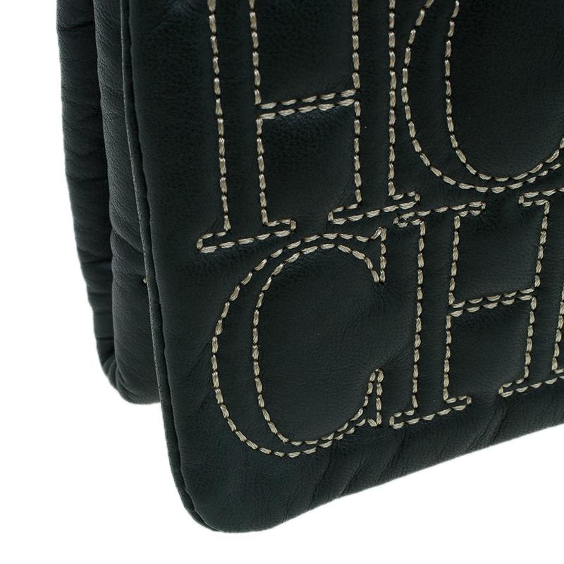 Carolina Herrera Olive Monogram Leather Jerry Clutch