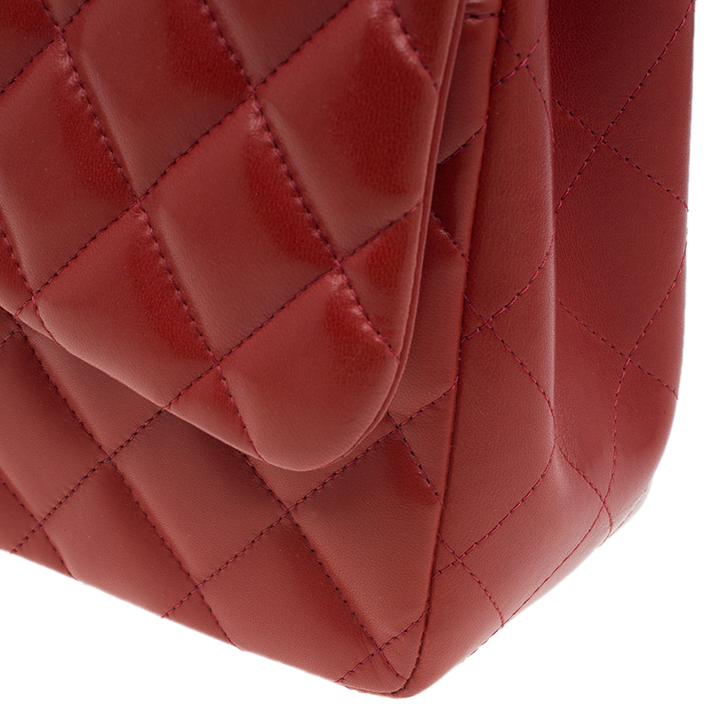 Chanel Red Quilted Leather Jumbo Classic Double Flap Bag