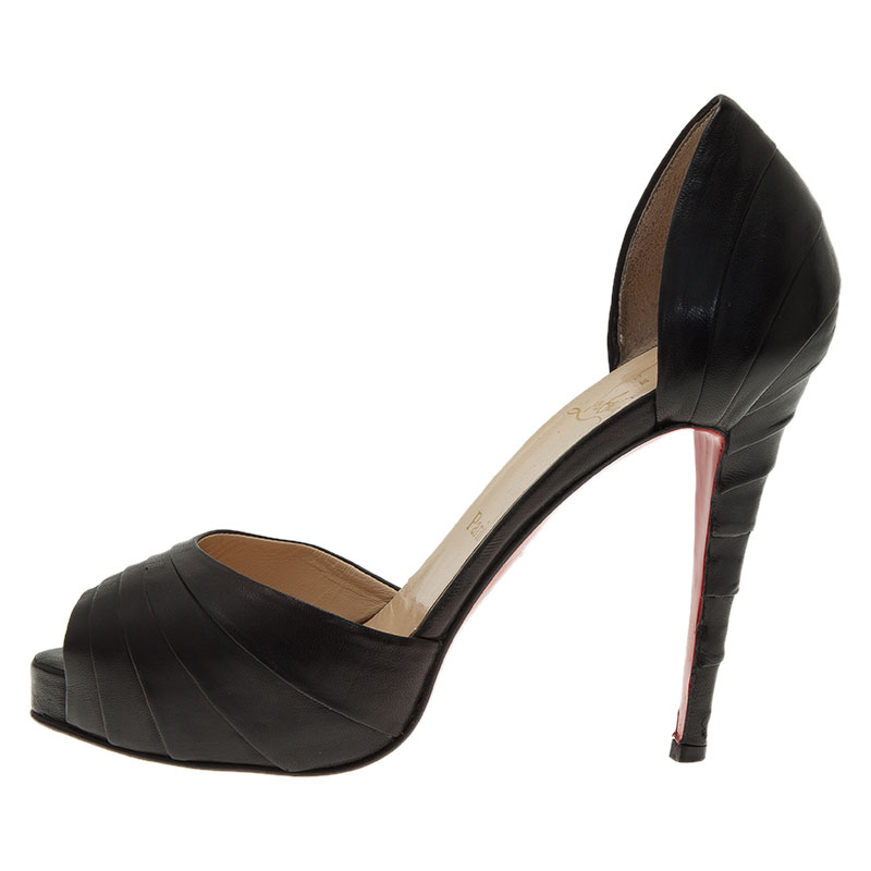 Christian Louboutin Black Leather Armadillo D'orsay Pumps Size 39