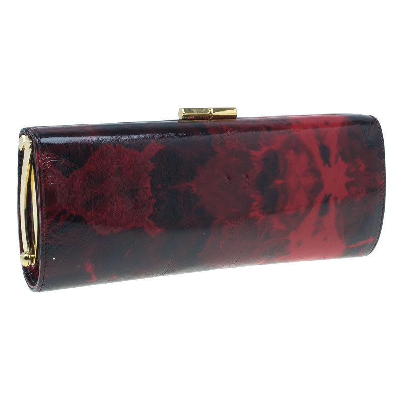 Jimmy Choo Red Rose Patent Leather Twill Tube Clutch
