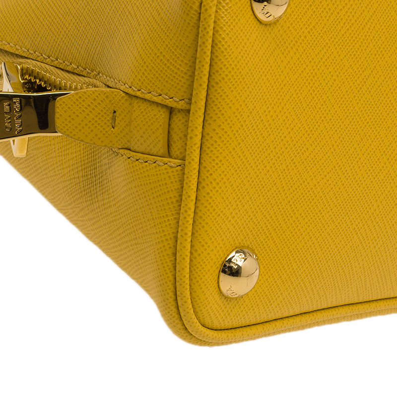 Prada Yellow Saffiano Leather Small Vernice Promenade Crossbody Bag