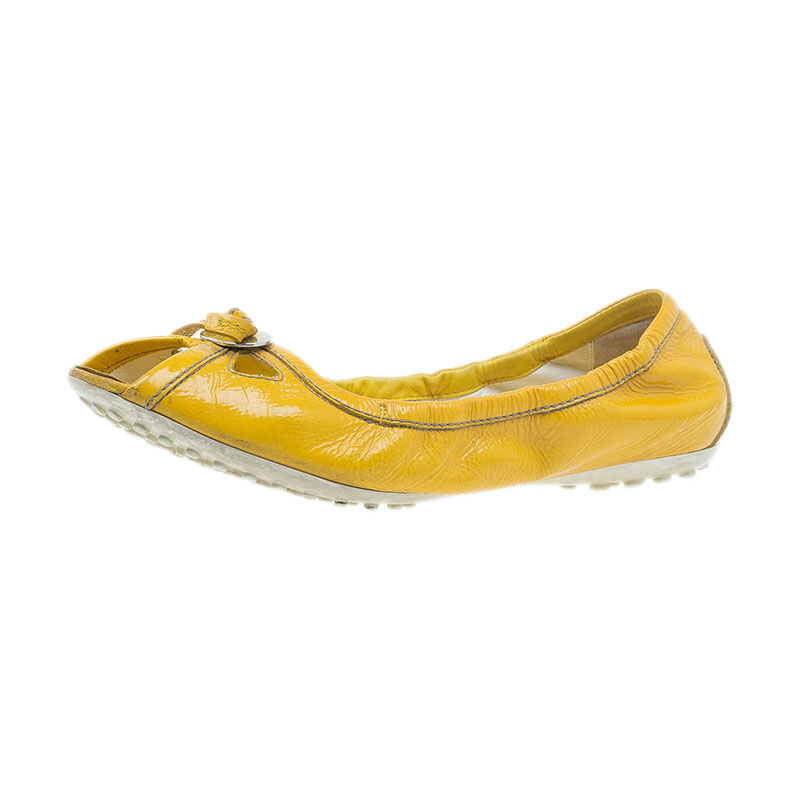 Tod's Yellow Patent Peep Toe Ballet Flats Size 38
