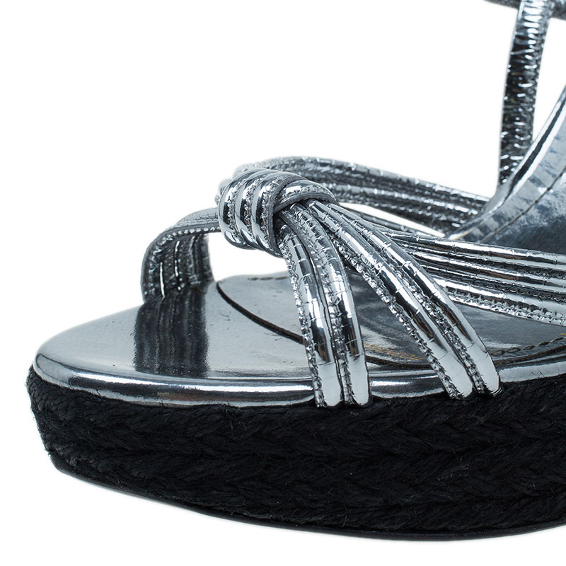 Burberry Silver Knotted Leather Espadrille Wedge Sandals Size 39