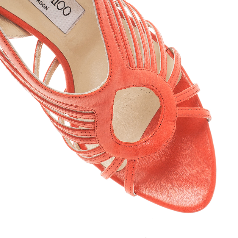 Jimmy Choo Orange Leather Samoa Kid Sandals Size 38