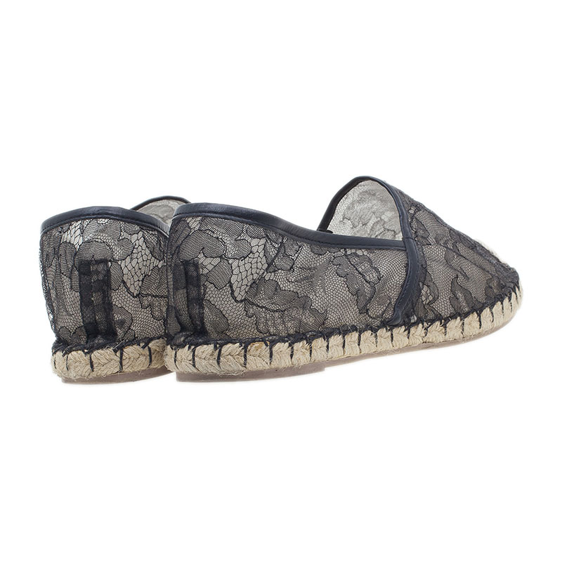 Valentino Black Lace and Leather Espadrilles Size 39