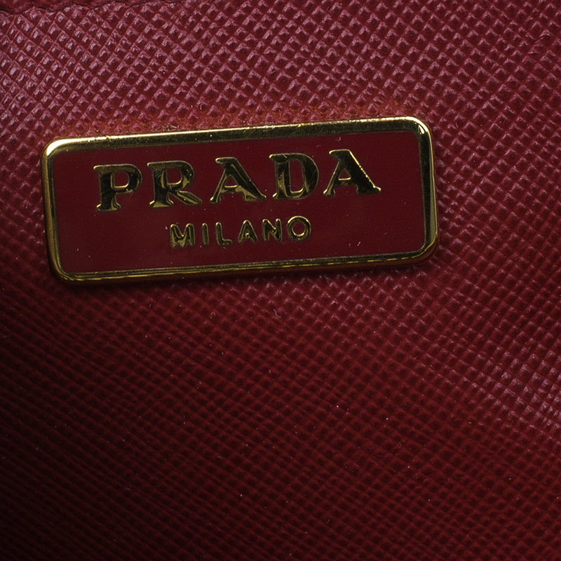 Prada Red Saffiano Lux Leather Mini Shoulder Bag