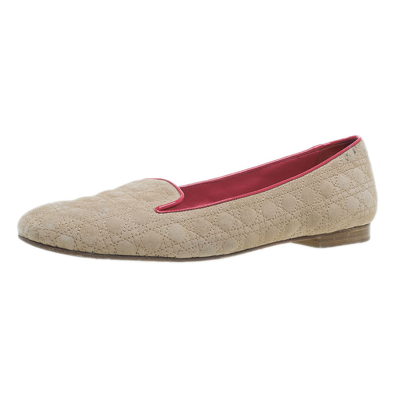 Dior Brown and Coral Quilted Cannage Suede Loafers Size 40