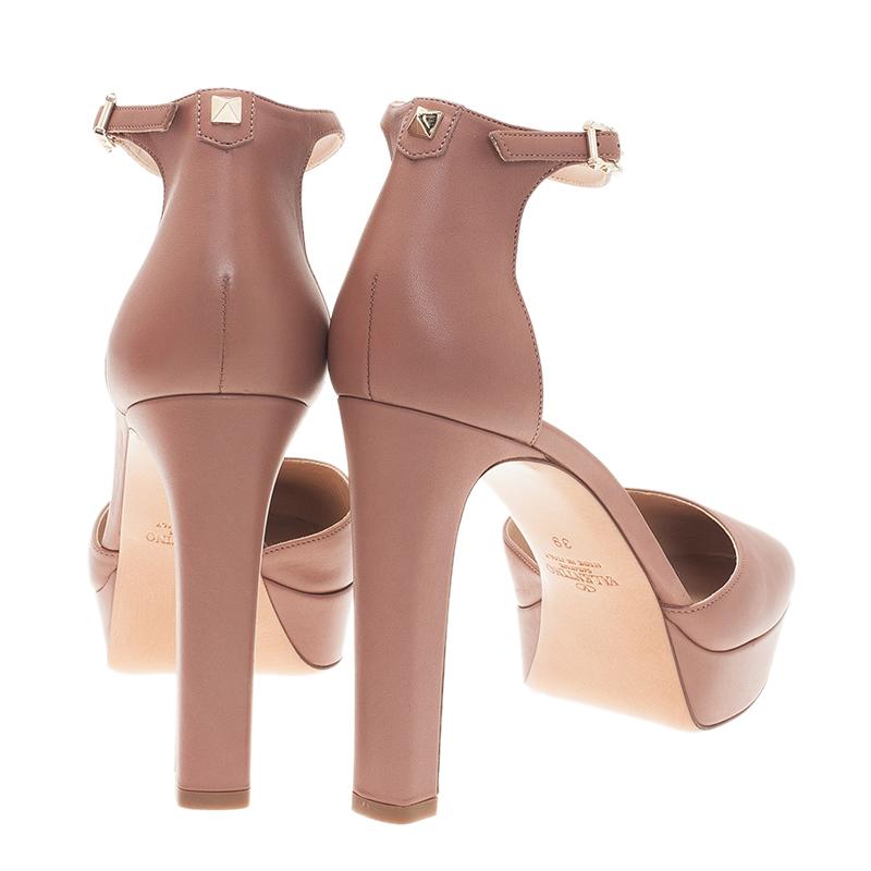 Valentino Brown Leather Ankle Strap Platform Pumps Size 39