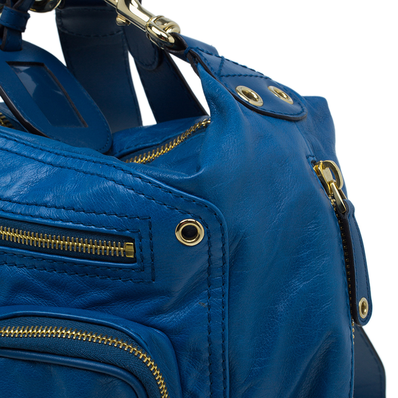 Gucci Blue Leather Medium Darwin Convertible Backpack Bag