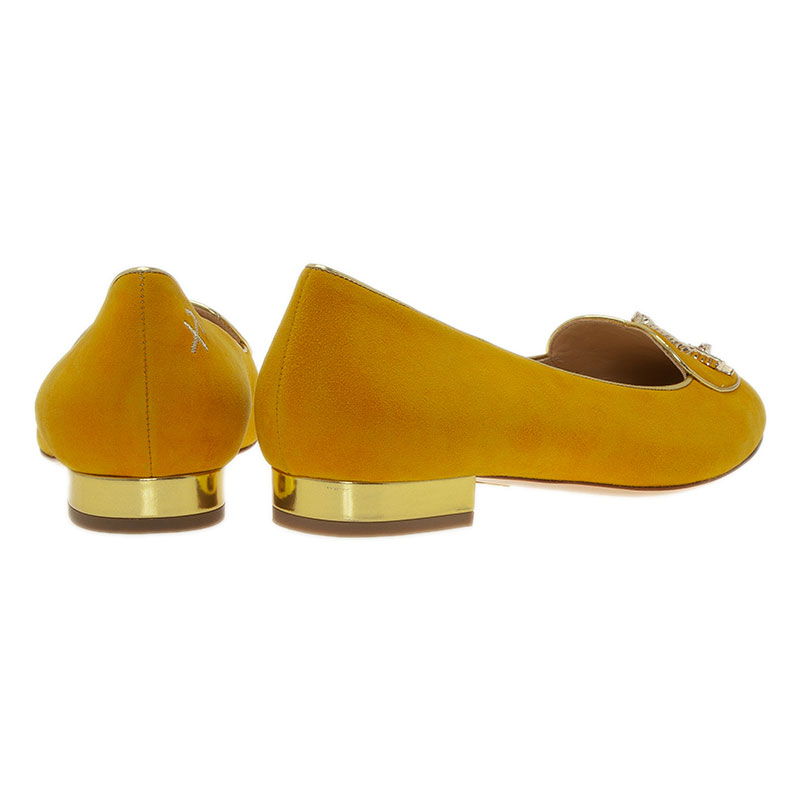 Charlotte Olympia Mustard Yellow Suede Sagittarius Smoking Slippers Size 39
