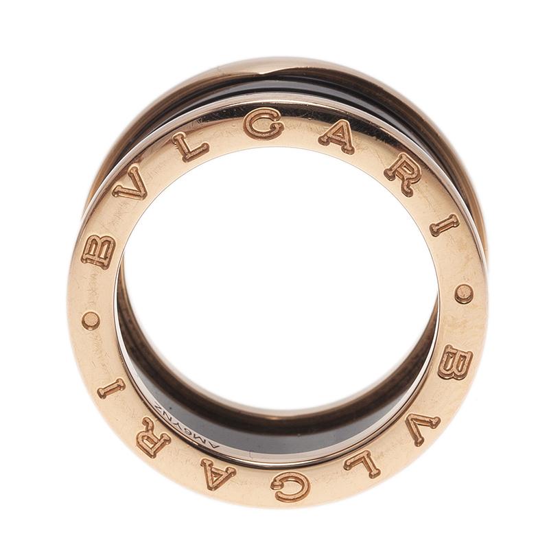 Bvlgari B.Zero1 4-band Black Ceramic Rose Gold Ring Size 55