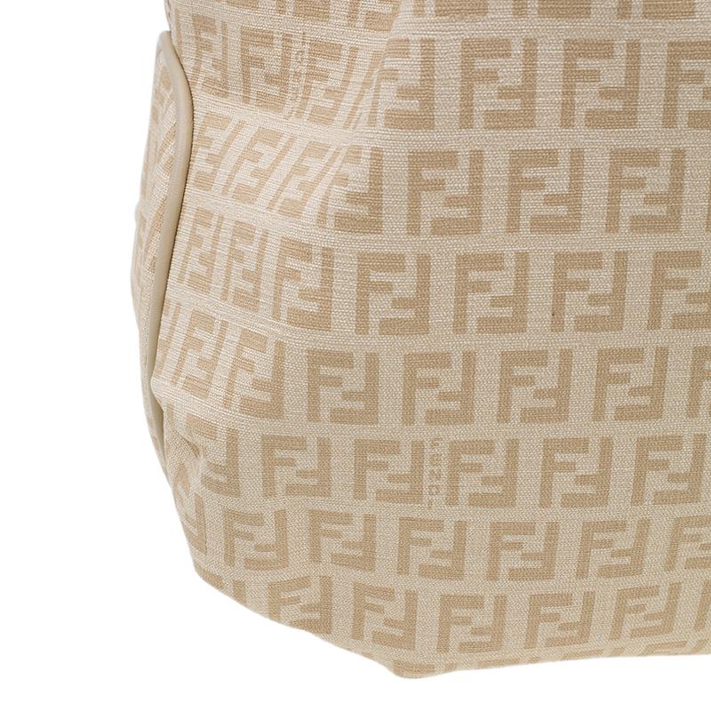 Fendi Beige Coated Canvas Medium Forever Zucca Printed Hobo Bag