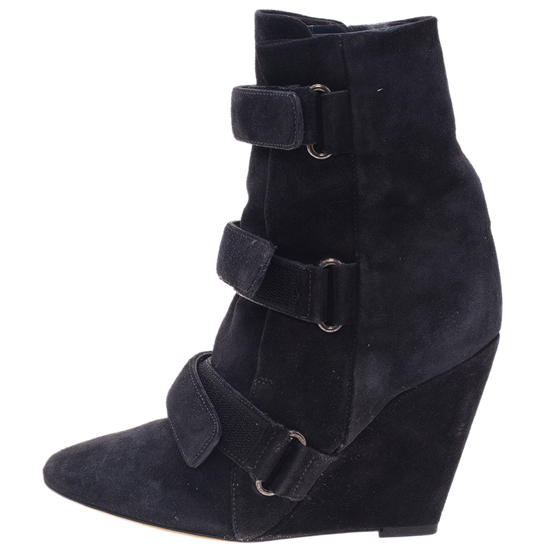 Isabel Marant Black Suede and Leather Scarlet Wedge Boots Size 38