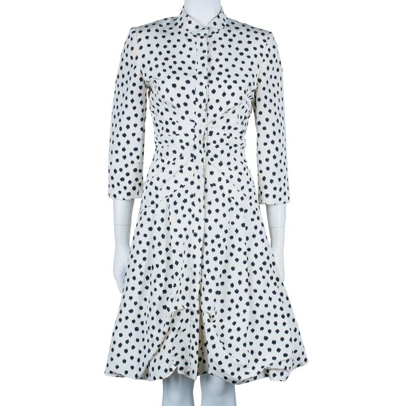 Oscar De La Renta Polka-dot Dress Coat M