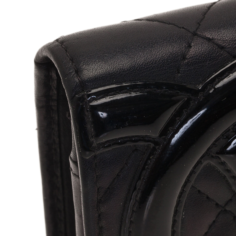 Chanel Black Quilted Leather Cambon Compact Wallet