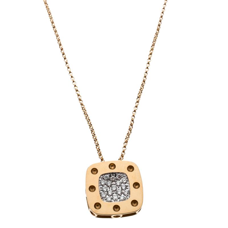 Купить со скидкой Roberto Coin Pois Moi Diamond 18k Yellow Gold Square Pendant Necklace
