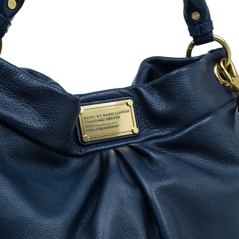 Marc by Marc Jacobs Blue Leather Huge Q Hillier Hobo