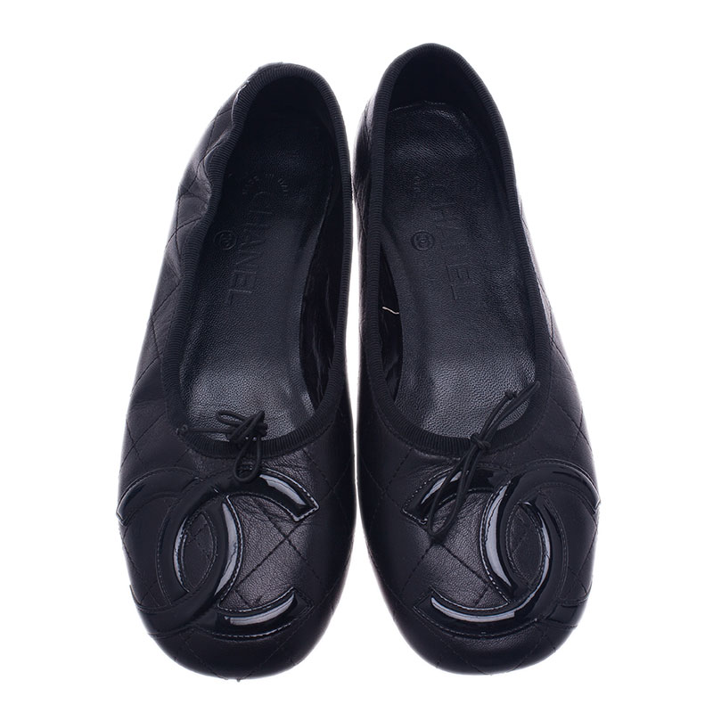 Chanel Black Leather CC Cambon Ballet Flats Size 39.5