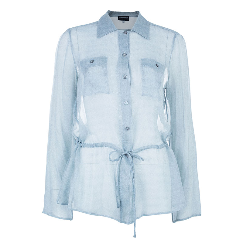 Giorgio Armani Button Down Drawstring Shirt L