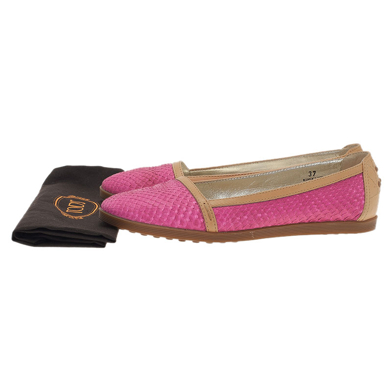 Tod's Pink Python Ballet Flats Size 37