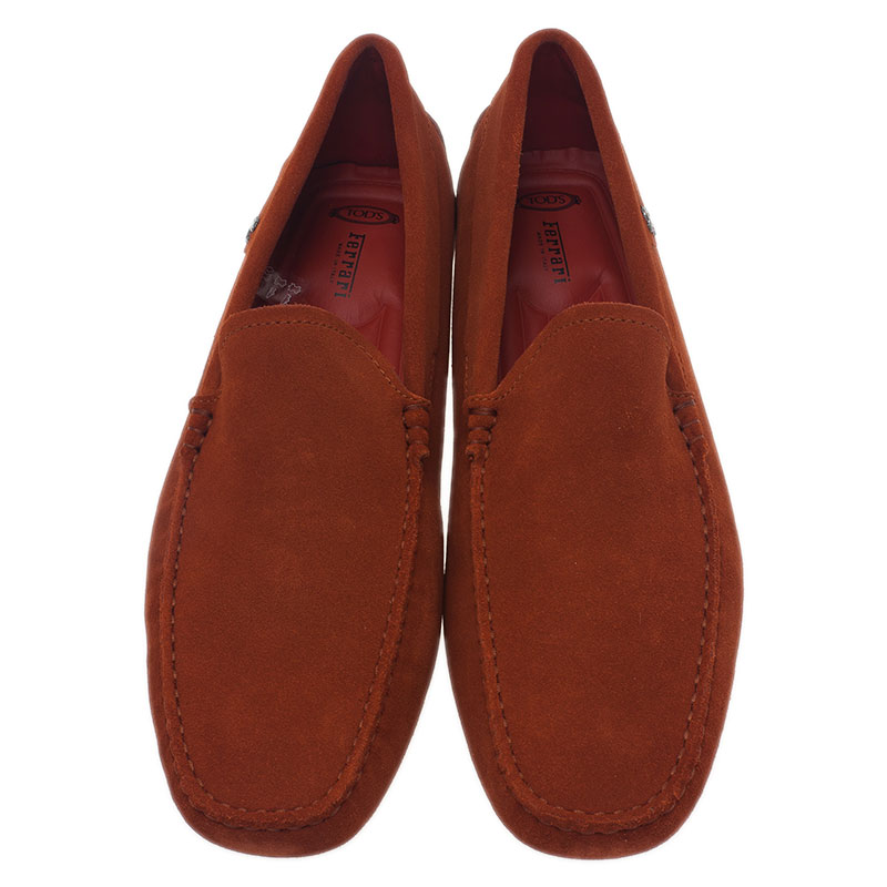 Tod's for Ferrari Orange Suede Limited Edition Gommino Loafers Size 42.5